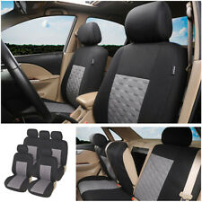 9 Part Car Seat Covers Protector Set For Front & Rear Seats Headrests Black/Gray