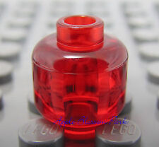 NEW Lego TRANS RED MINIFIGURE HEAD - Plain Clear/Translucent Alien Minifig Head