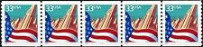 Flag Over City Skyscrapers W/A Coil Strip of 5 PNC5 PL 1111 MNH Scott's 3280