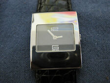 #407 GUCCI lady stainless steel crocodile banded quartz watch