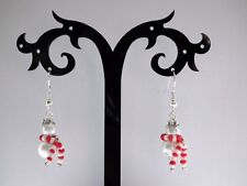 Christmas Snowman with Scarf Dangle Drop Earrings Cute Festive Gift Hand Made