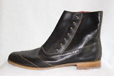 Cole Rood & Haan Co Dark Brown Leather Ankle Boots w/Side Zip & Studs 10.5 M NEW