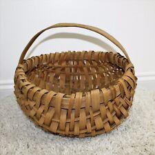 Vintage Primitive Southern Signed Splint Oak Farm Gathering Eggs Basket