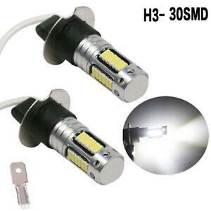 2Pcs H3 LED Bulb 30SMD Fog Light Car Driving Light Lamp Bulb 6000K White