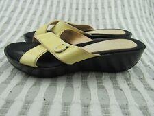 Women's Salvatore Ferragamo Yellow Wedge Slide Sandals Size 7 ~ 2A