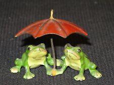 Ancien 2 grenouille au parapluie 19e Bronze de Vienne plomb de Nuremberg frog
