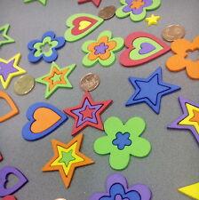 264 Corazones Estrellas y Flores Huecos de goma EVA, 36, 24 y 12 mm, 6 Colores