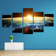 Creative 5Pcs Earth & Sun Destroyed Dawn Oil Painting Wall Printing Room Decor