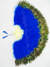 "NEW ROYAL BLUE MARABOU PEACOCK 29"" OPEN FEATHER FAN WEDDING COSPLAY COSTUME"