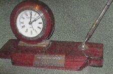 Beautiful Chambers Desk Clock and Pen Desk Set, Rosewood Wood
