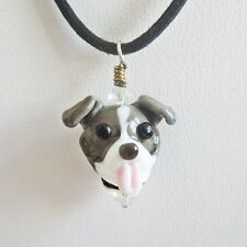 Blue Nose Pit Bull Glass Pendant Necklace - Handmade - FREE SHIPPING