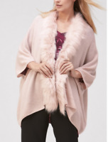 Versatile Fur Trimmed Waffle Wool and Cashmere Knit Bolero,Cardigan Wrap size M