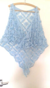 A Ladies hand crocheted Pale Blue patterned  shawl