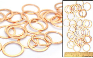 "3/4"" Brushed Finish SOLID COPPER Spacer ROUND CIRCLE Flat Wire LINKS Beads 35pc"