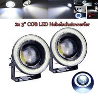 "2pcs 3"" Auto LED Nebelscheinwerfer Set COB Angel Eyes Fog Light weiß  universal"