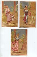 Set 3 Victorian Trade Card Middle Eastern Egyptian Women w/ Vases and Child