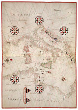 Central Mediterranean Italy Sicily Sardinia Tunisia map Joan Oliva ca.1590