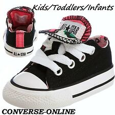 Girl CONVERSE All Star BLACK PINK LEOPARD DOUBLE TONGUE Trainers Shoe UK SIZE 10
