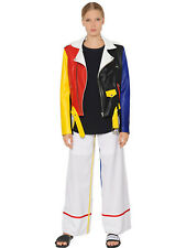 Womens Multi Colored Biker Soft Real Leather Jacket