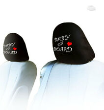 NEW PAIR INTERCHANGEABLE BABY ON BOARD CAR SEAT HEADREST COVER FOR VW