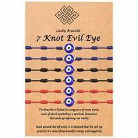 6 Pcs/set Blue Evil Eye Bracelet Kabbalah Amulet 7 Knots Lucky Protection Gift