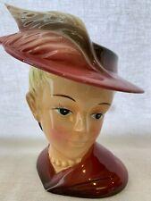 "Vintage Headvase/head vase Lady with Feather Hat 6 1/2"""