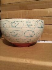 """1 New Anthropologie """" Cat Study Bowl """" ~ Cool Kitten's  Sold Out! - (Red)"""