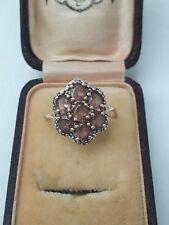 Antique Art Deco 9ct gold smokey quartz cluster ring. Size Q/R.
