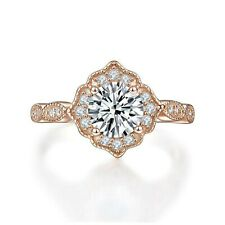 Solid 925 Sterling Silver Rose Gold Plated 1 Carat Vintage Style Art Deco Ring