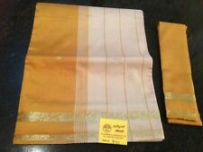 Indian Costume Saree Bollywood Party Wear Sari Curtain Drape Mustard Yellow