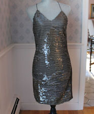 Women's Light Olive Green Sequined Greylin Designer Dress