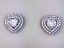 18K White Gold Natural Heart Diamond Halo Screw Back Stud Earrings 1.60 CT