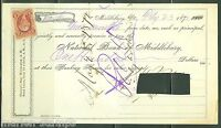 UNITED STATES INLAND EXCHANGE 5C ON LETTER OF EXCHANGE MIDDLEBURY, VT 7/23/1872