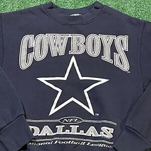 Dallas Cowboys Sweatshirt Youth Medium Boys Blue Vintage 90s NFL Football Kids