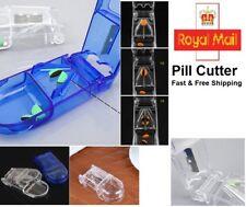 Pill Cutter Medicine Tablet Holder Safe Splitter Half Storage Compartment Box UK