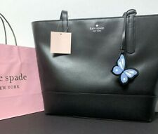 Kate Spade Large Tote Bag Black Leather Bow Accent Bright Pink Lining MINT Cond