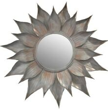 Antique Look Round Metal Wall Mirror Home Sculpture Wall Leaf Round Hanging Art