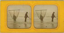 Photo Stéréo Albuminé Tissu Pêche Pêcheur Bord de Mer Vers 1860