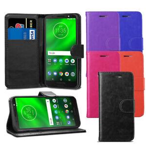 For Motorola Moto G6 Case - Premium Leather Wallet Flip Case Pouch Cover