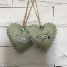 2 Sophie Allport Gardening Fabric Heart Door Hangers Shabby Chic Vintage Gift