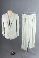Vtg Mens 1950s Palm Beach Linen Suit Jacket S Long Drop Loop Pants 28x33 50s