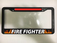 FIRE FIGHTER FIREFIGHTER RESCUE ENGINE RED LINE Black License Plate Frame NEW