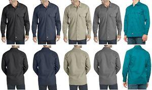 Dickies Men Long Sleeve Work Shirt, Original Fit, Wrinkle/Stain Resistant, Flex