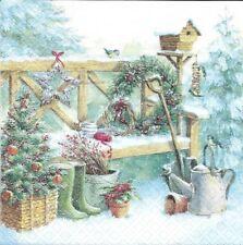 2 Serviettes en papier Jardin hiver Decoupage Paper Napkins Gardening
