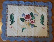 Applique Quilted Floral Pillow Sham Queen Pillow Size