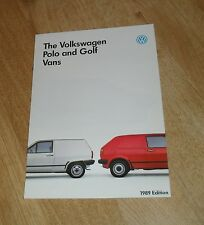 Volkswagen VW Polo & Golf Van Brochure 1988-1989 UK Market