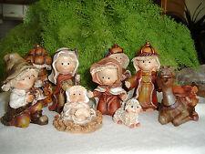 Krippenfiguren, 9tlg, Jesuskind, Weihnachten, Krippe, kindlich naiv, 10cm