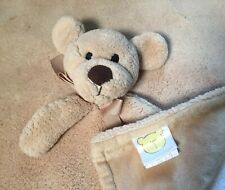 Piccolo Bambino Beige Brown Dog Ribbon Baby Blanket Plush Lovey Security
