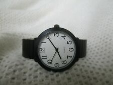 Analog Watch Black & White Metal Stretch Band Modern Industrial Classic WORKING!
