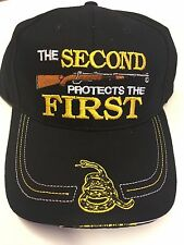 NEW THE SECOND PROTECTS THE FIRST Hat in Black Don't Tread on Me, On Bill